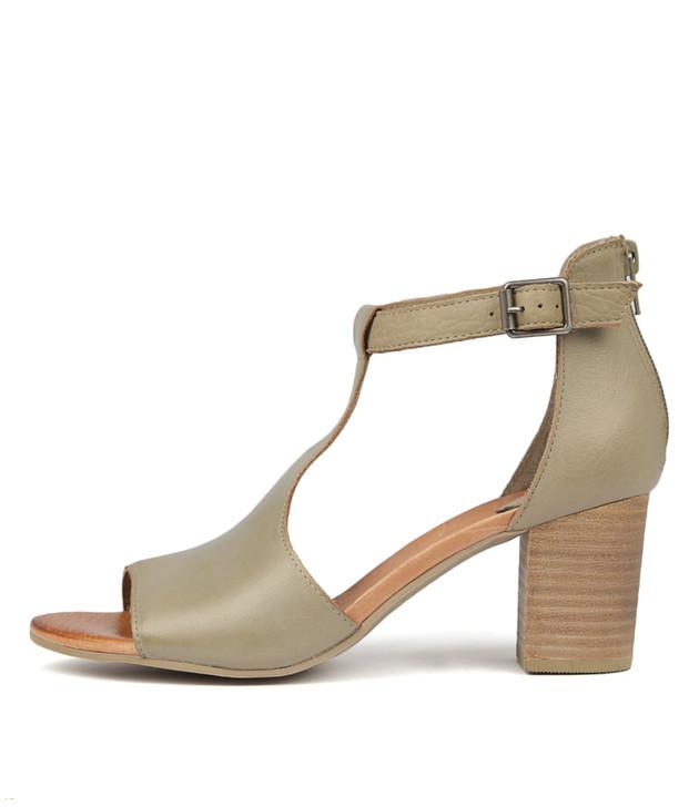 SORELY Heels Sandals Khaki Leather