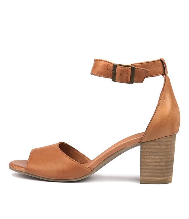 SHERWIN Heeled Sandals in Dark Tan Leather