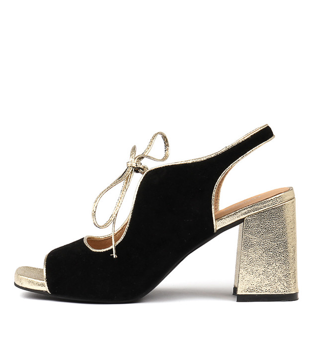 ROLAND Heels Sandals Black Suede Gold