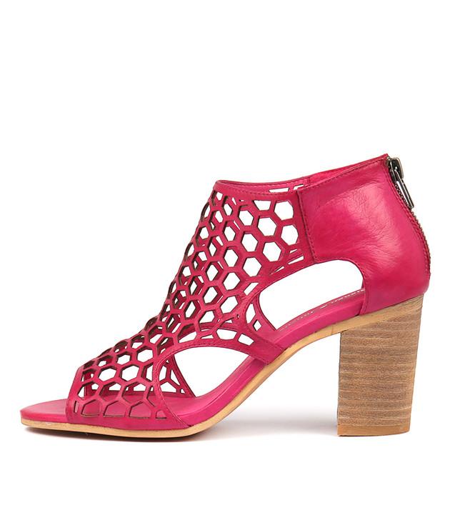 VIABLE Heels Sandals Fuchsia Leather