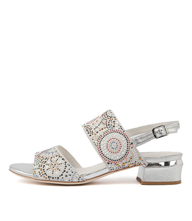 TANDYS Heels Sandals White Suede Silver