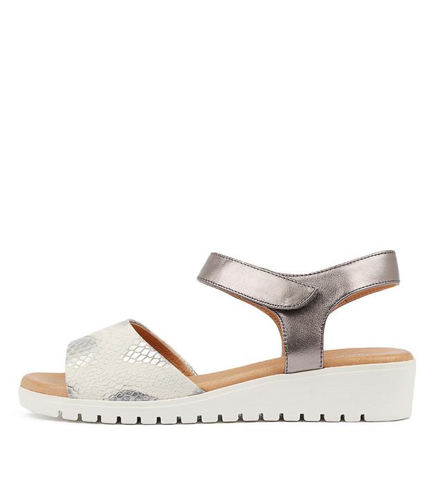 MULTON Sandals Grey Pewter Leather