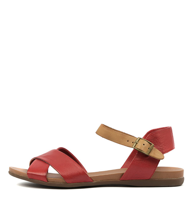 BROSS Sandals Red Tan Leather