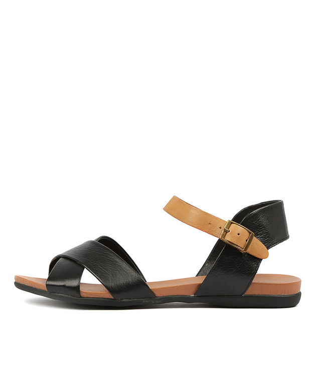 BROSS Sandals Black Tan Leather