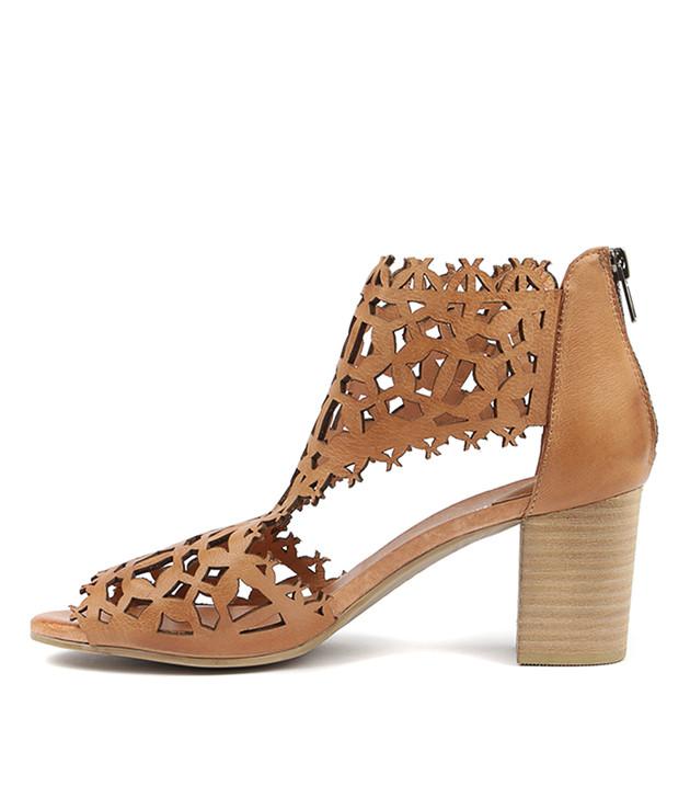 SHANON Heeled Sandals in Dark Tan Leather