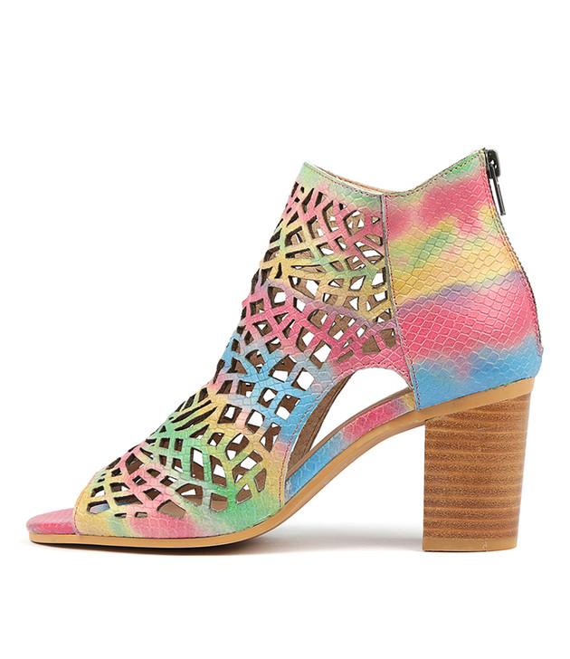 VERLIN Heels Sandals Rainbow Leather