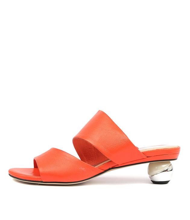 DELOS Heeled Sandals in Hot Orange Leather