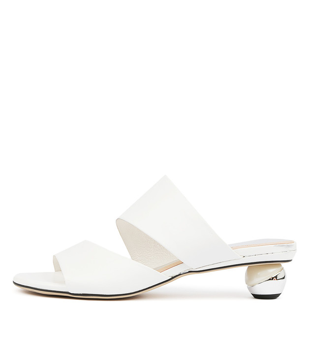 DELOS Heels Sandals White Leather