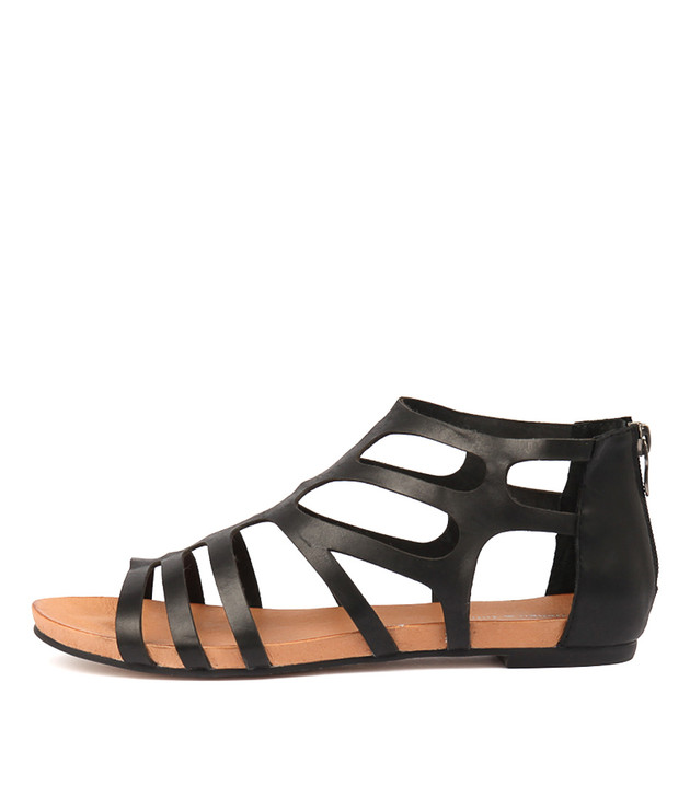 JASENT Sandals Black Leather