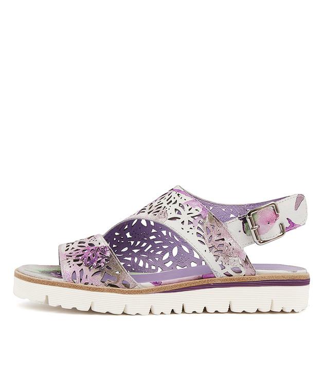 TASIAS Sandals Lilac Pastel Print Leather