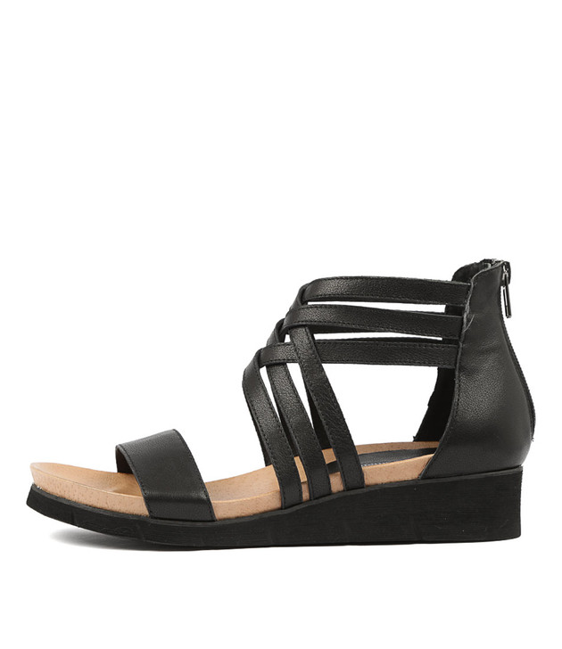 LUGOU Sandals Black Leather