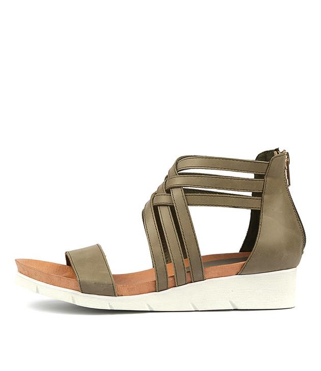 LUGOU Sandals in Khaki Leather