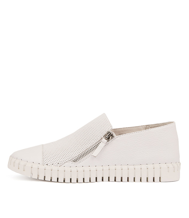 HUNG Flats in White Leather