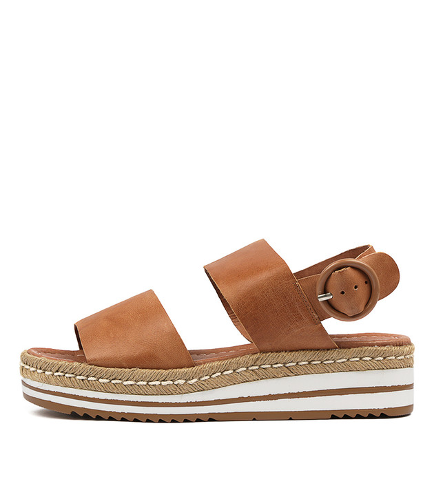 ATHA Flatform Sandals in Dark Tan Leather