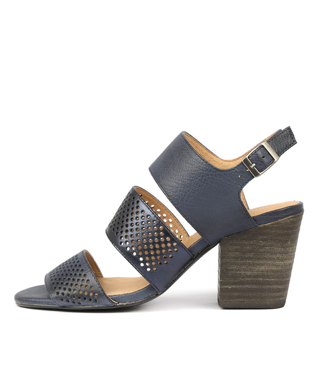 WANTES Heels Sandals Navy Metallic Leather