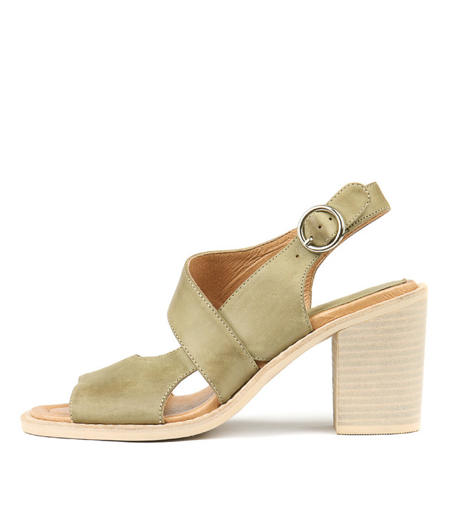 TAVARIS Heeled Sandals in Khaki Leather