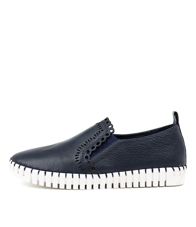 HANNAN Flats Flats Navy Leather