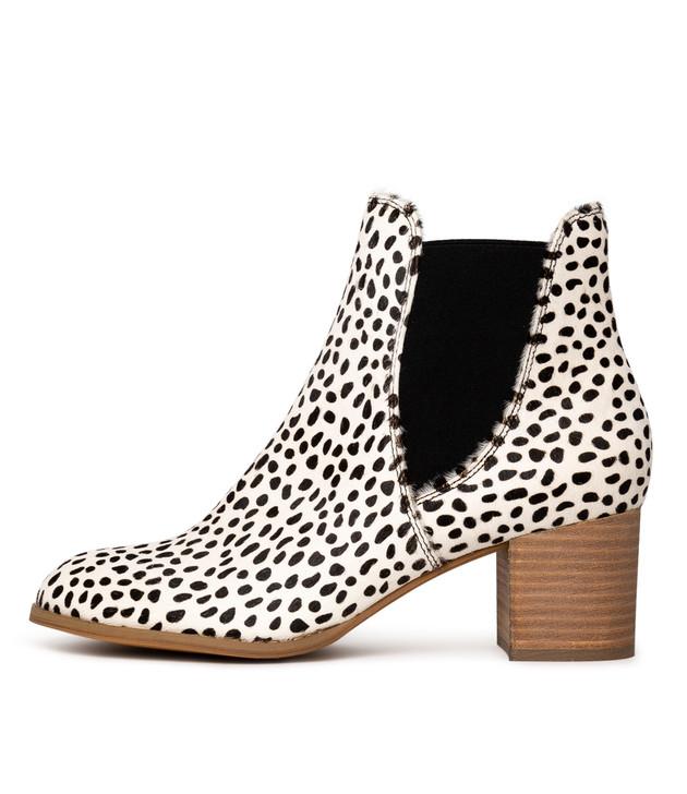 SADORE Boots White Black Pony Hair