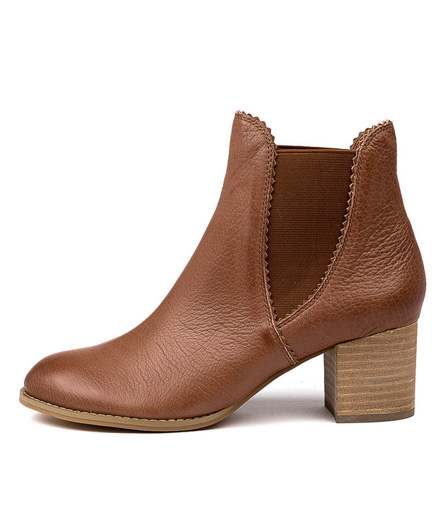 SADORE Ankle Boots in Cognac Leather