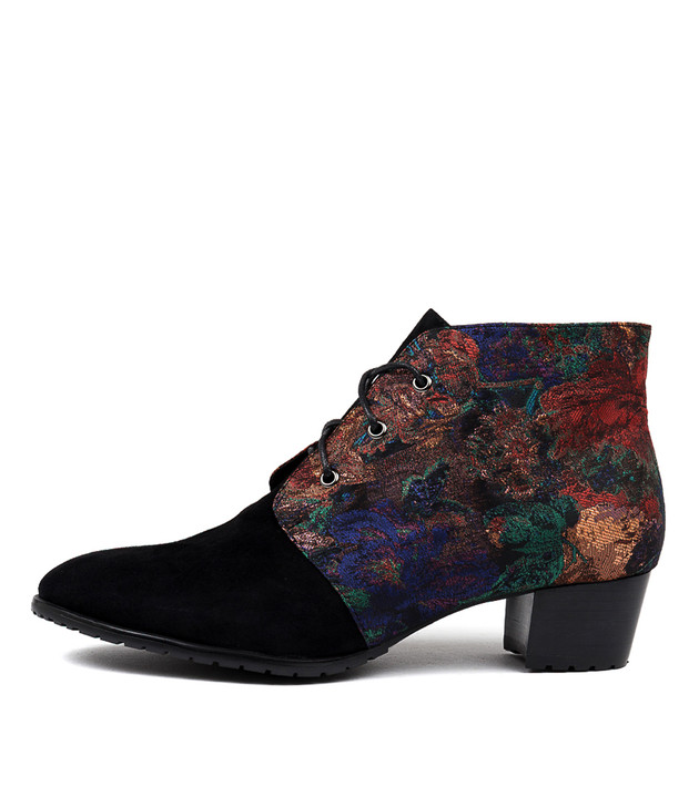 TANKERM Ankle Boots in Black Suede/ Multi Fabric