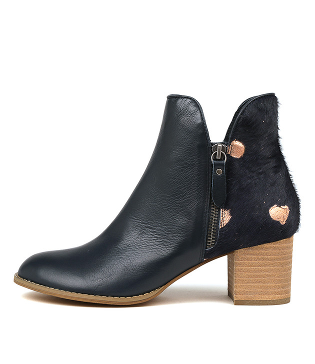 SHIANNELY Ankle Boots in Navy Leather/ Pony Hair