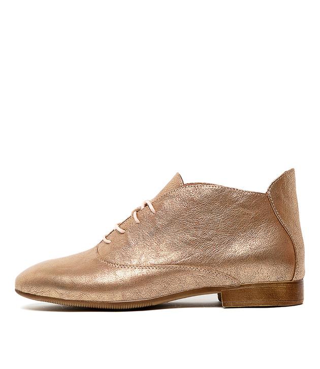KHARI Flats Nude Rose Gold Leather