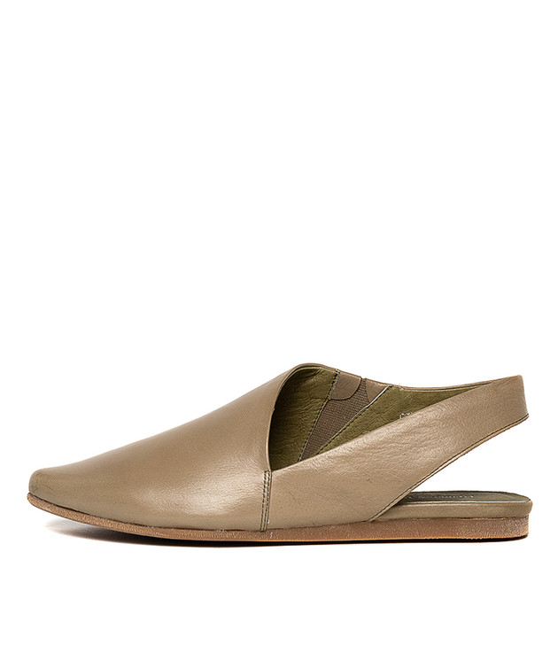 CODIE Flats in Khaki Leather