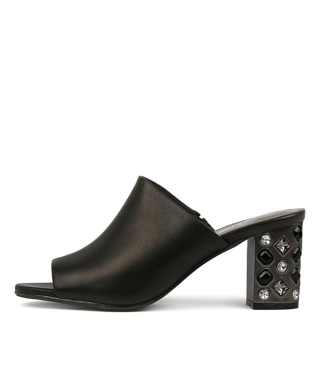 FLINT  Mule Black Leather
