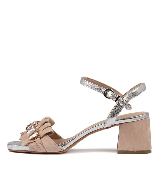 MAURA in Nude Silver Suede Leather
