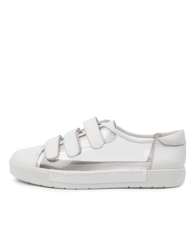 VIDA White Leather Clear Vinylite