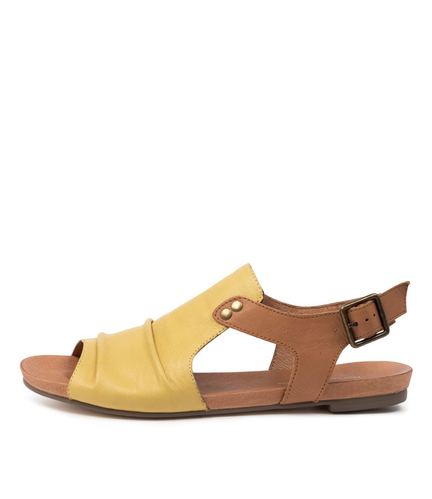 JERED Light Yellow  Dark Tan Leather