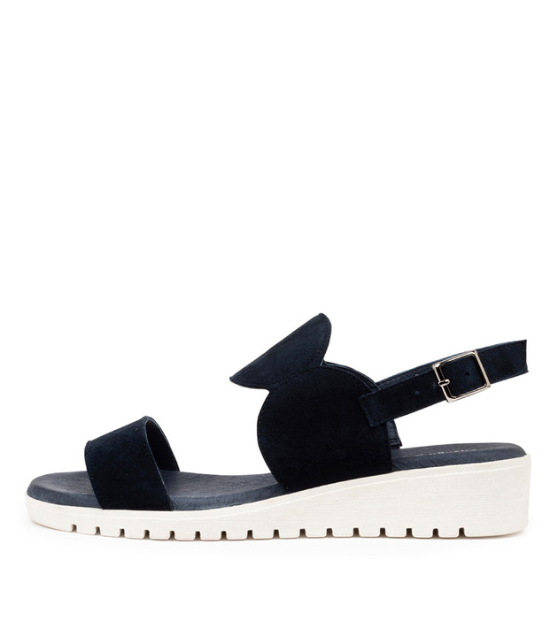 MOSWELL Sandals Navy White Sole Suede