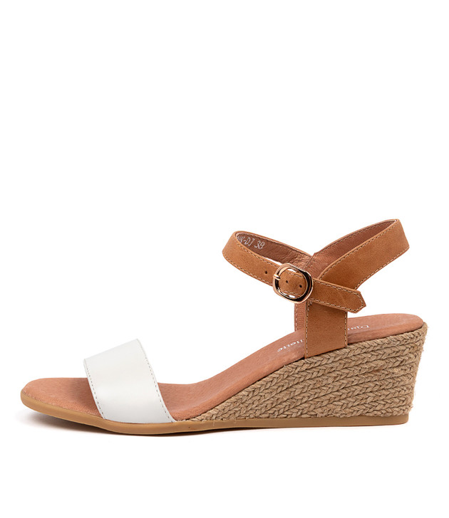 BROOK Sandals White Tan Leather