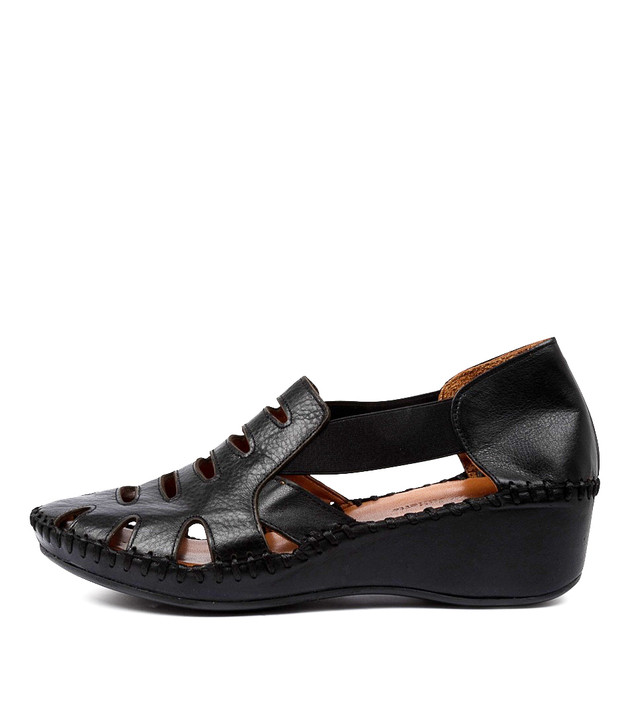 MOSSIE Flats Black Leather