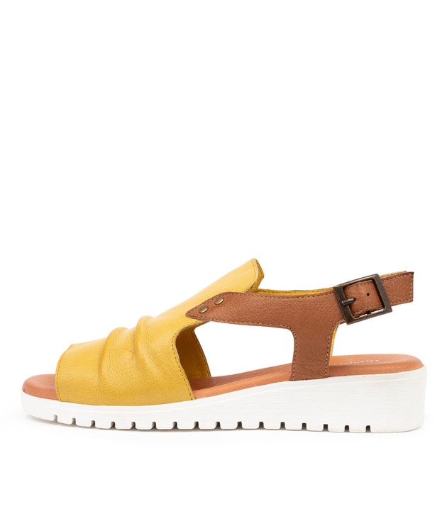 MADIS Light Yellow  Dark Tan Leather