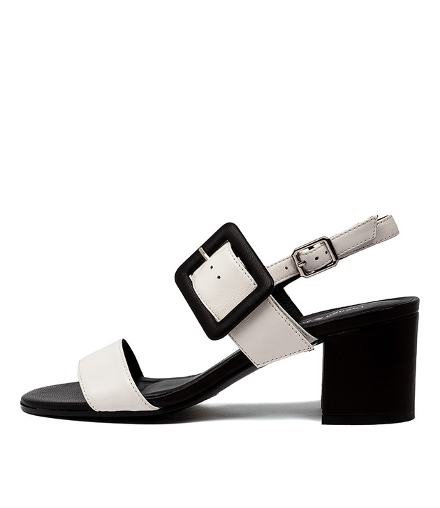 RICO Sandals White Black Leather