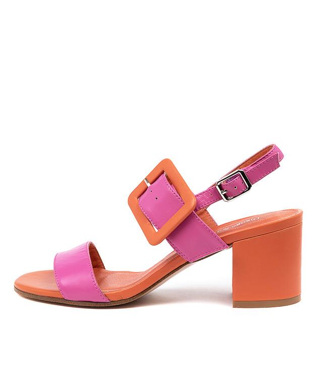 RICO Sandals Fuchsia Orange Leather