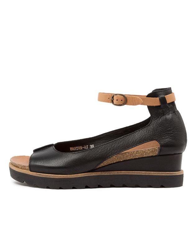 BRAYAN Black Dark Tan Leather
