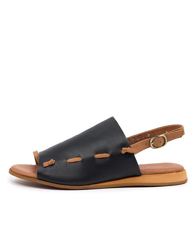 ANCHILA Dark Tan Navy Leather