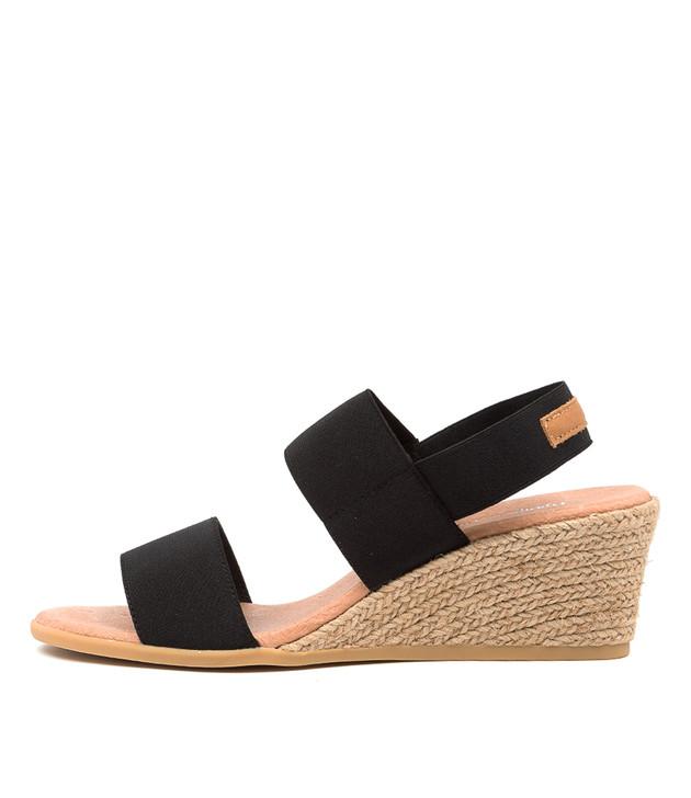 BLOOMY Black Elastic Tan Leather