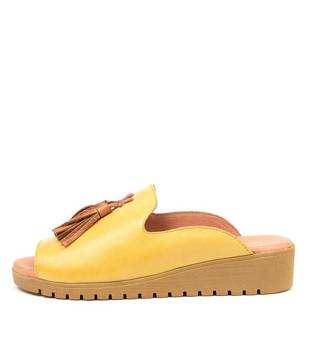 MAYSON Light Yellow Dark Tan Leather