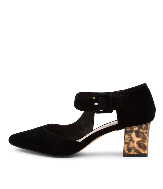 HAPPIE Black Suede Leopard Heel