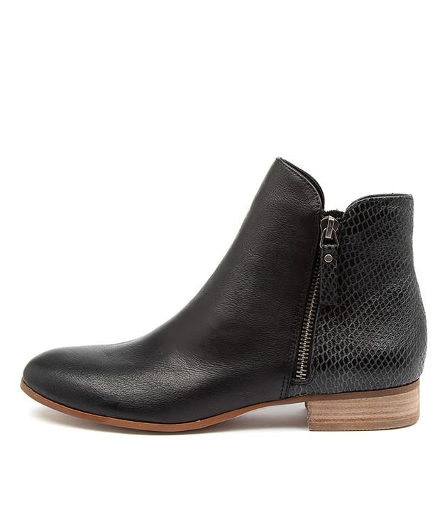 FABRO Black Print Leather