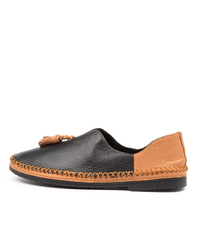 VIMMY Black Dark Tan Leather