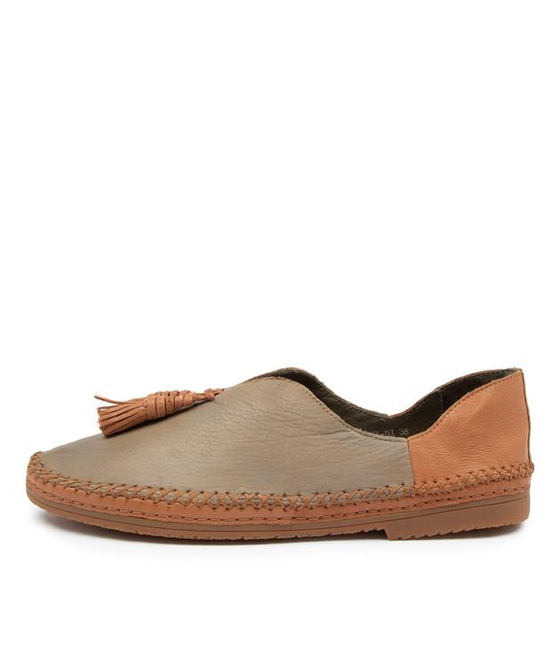 VIMMY Olive Dark Tan Leather