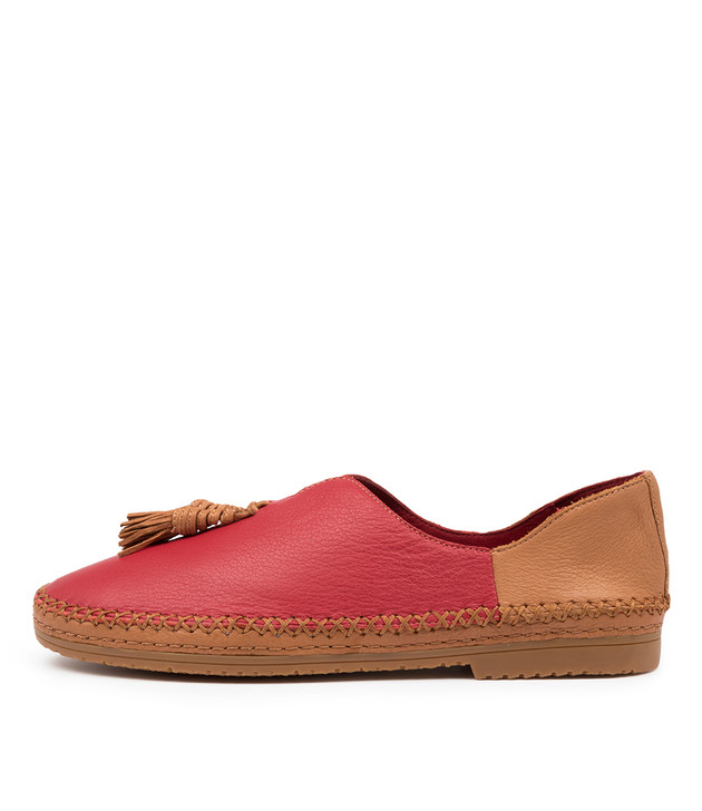 VIMMY Red Dark Tan Leather