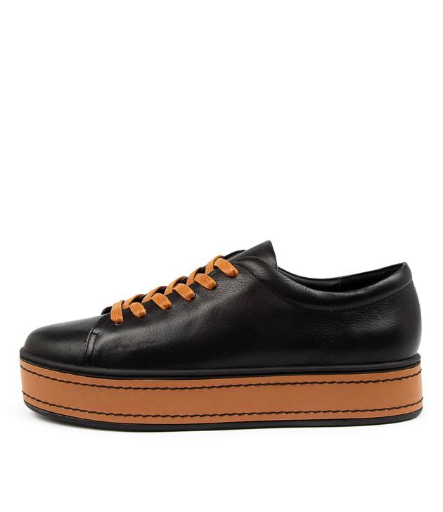 GUDDO Black Dark Tan Leather