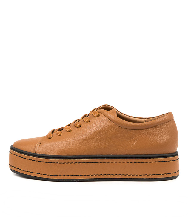 GUDDO Dark Tan Black Leather