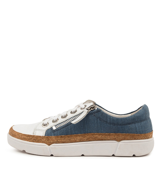 TORRY White/ Blue Multi Leather