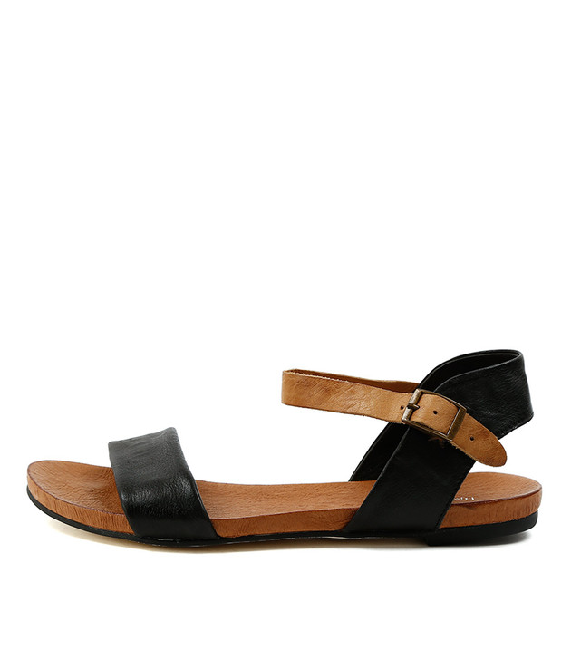 JINNIT Sandals Black Tan Leather
